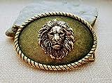 Handmade Oxidized Brass Steampunk Lion Belt Buckle