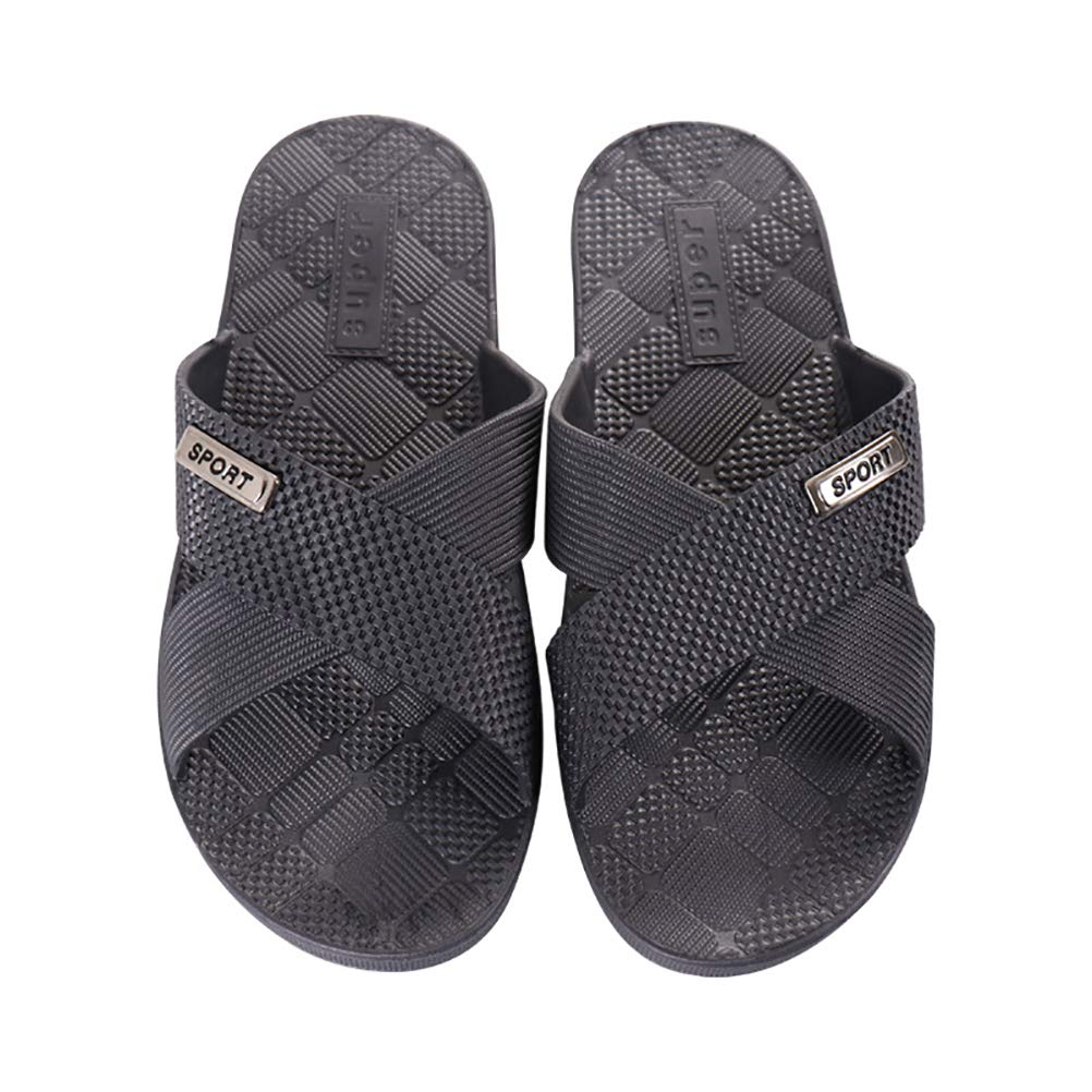 HUPLUE Mens Summer Bathroom Slippers Soft Household Shower Slipper Anti-Slip Beach Slippers