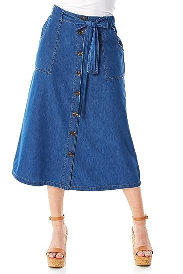 Roman Originals Falda con Botones para Mujer, 100% algodón, para ...