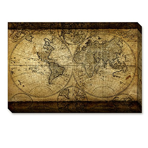 DongLin art Vintage World Map Canvas Wall Art Prints Retro Map of the World Stretched and Framed for Livng Room Ready to Hang, 16×24inch/ - Art Framed Fabric