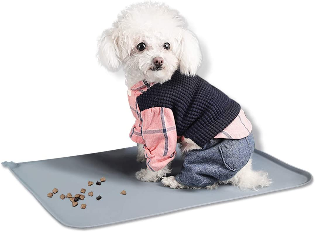 Kalevel Waterproof Silicone Dog Food Mat Pet Feeding Tray Cat Bowl Placemat for Food and Water Large Gray 21in x 14in
