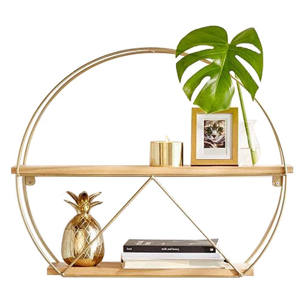 Shelf Shelves Simple Solid Wood Rack Wrought Iron Round Bookcase Wall Hanging Flower Stand 3 Sizes, Wall Mounted Round Metal, Floating Creative Wall Decor (Size : S)