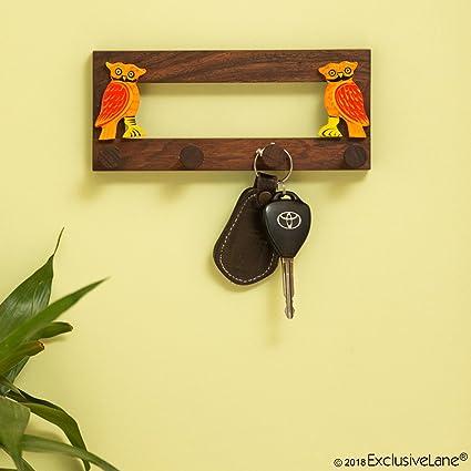 ExclusiveLane \'Standing Owls\' Handmade Key Holder In Sheesham Wood ...