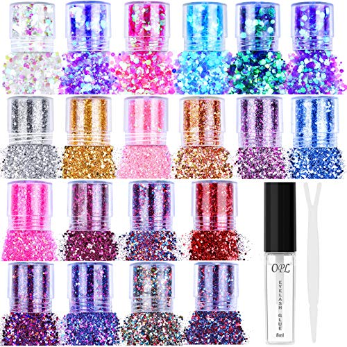 20 Colors Holographic Cosmetic Chunky Glitter, Flasoo 20 Boxes Face Body Eye Hair Nail Festival Chunky Holographic…