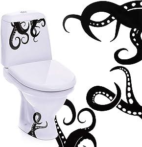 15 Pieces Kraken Octopus Toilet Decor Sticker Octopus Toilet Home Decal Black Sea Creature Wall Art Sticker Tentacles Bathroom Kraken Decal for Toilet Seat
