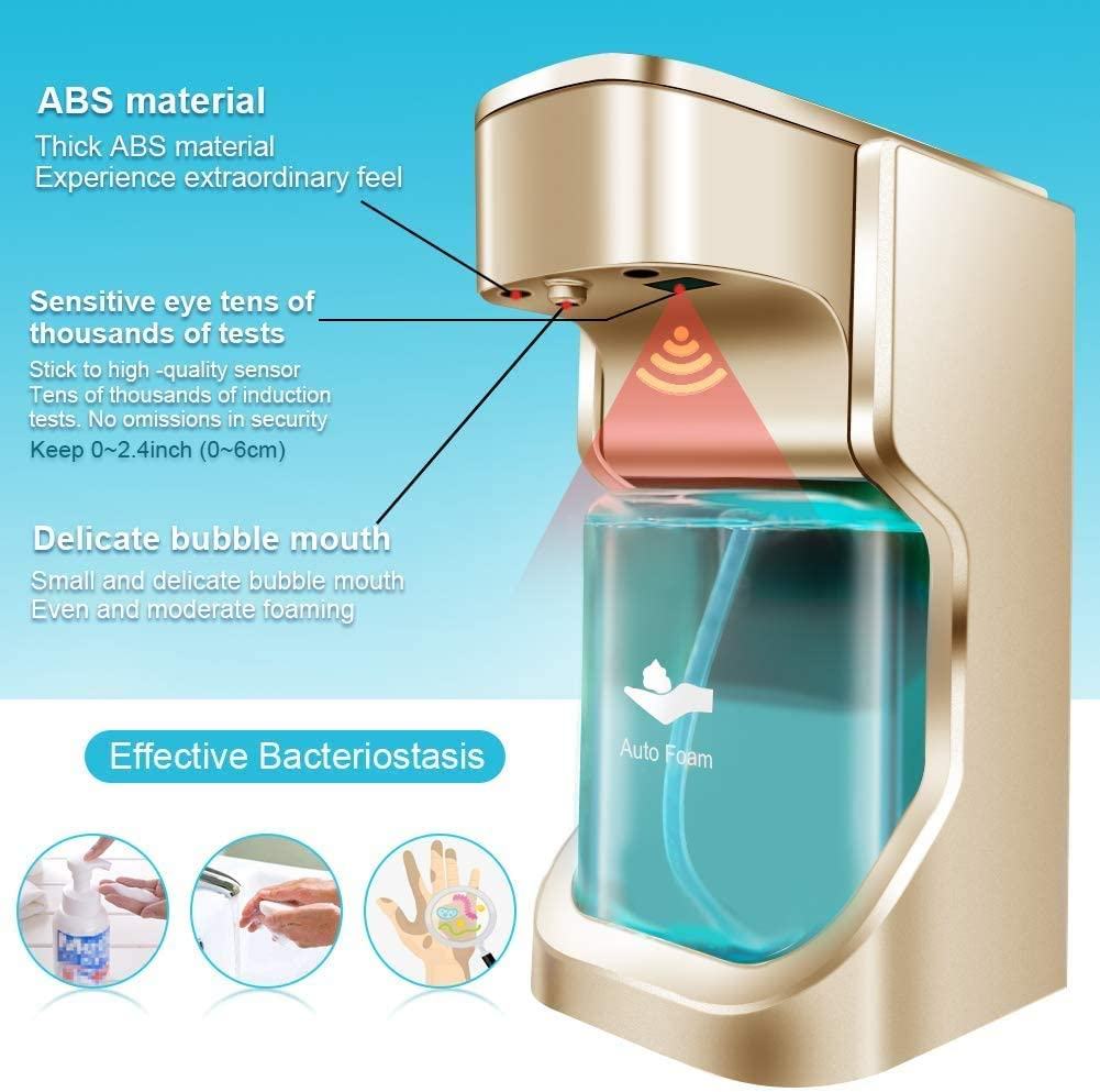 Soap Dispenser Touchless Automatic Soap Dispenser Infrared Motion Sensor High Capacity Soap Dispenser Waterproof Base Adjustable Switches Suitable for Bathroom Kitchen Hotel