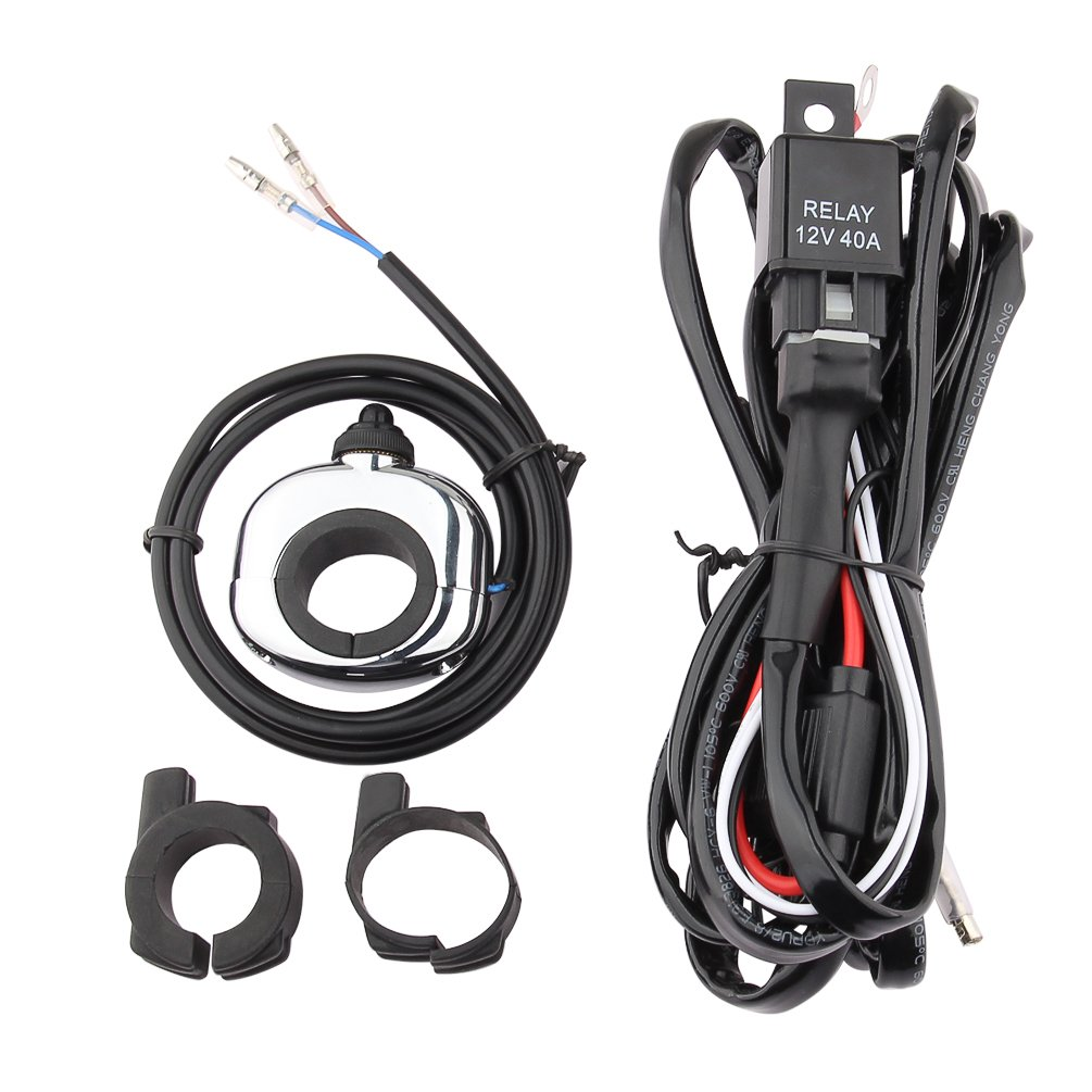 Motorcycle Switch Wiring Harness Proauto Driving Light And Handlebar Relay Kit Fuse On Off For Cycle With 7 8 Inch 1
