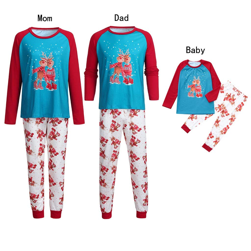 c439b4b217 Amazon.com  Sinwo Matching Family Christmas Pajamas Women Men Kids Print Top+Stripe  Pants Family Clothes Sleepwear  Sports   Outdoors