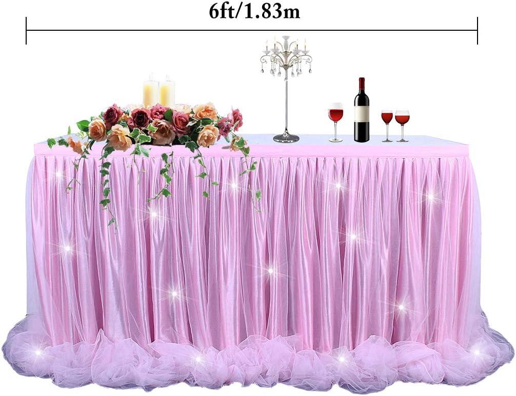 B bangcool Falda de Mesa de 1,8 m con tutú Creativo y luz LED para decoración de Fiestas: Amazon.es: Electrónica
