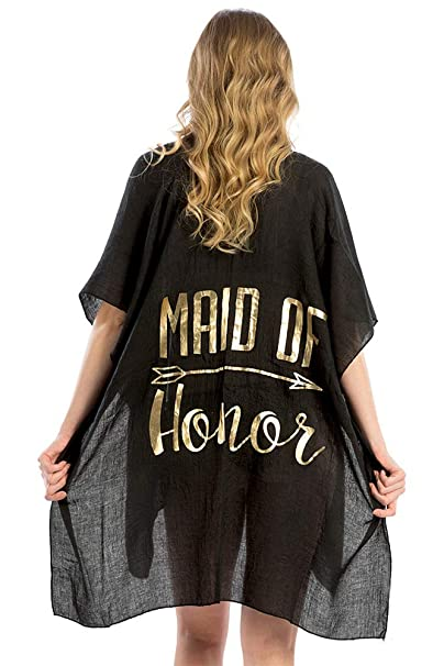 1e1c5f72f2f92 ScarvesMe Women's Newly Wed Maid of Honor Sleeve Open Front Kimono Cardigan  Cover Up (Black