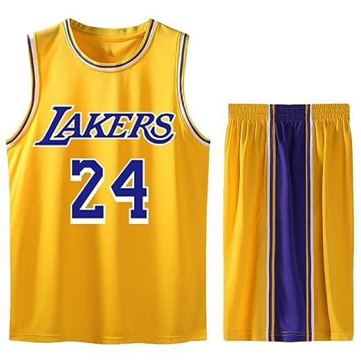Vestido amarillo uniforme de baloncesto 24 para adultos hombres y ...