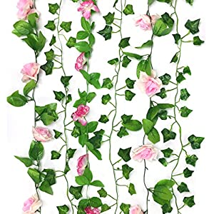 PietyDeko Pink Rose Garlands Vine Flower Artificial and Fake Ivy Vine Hanging Plant for Home Yard Fence Wedding Garden Decoration, 6 Pack 11