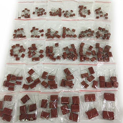 E-First 250V 0.001uf~6.8uf CBB Metal Film Capacitors assorted Assortment Kit 30 Values 239pcs