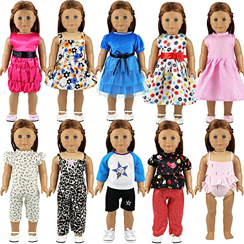 Barwa 10 Sets Doll Clothes 5 Sets Clothes Outfits and 5 Sets Dress for 18 Inch American Girl Doll Xmas Gift by Barwa