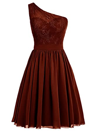 c7e921a0864 Vweil One-Shoulder Sheer Lace Chiffon Bridesmaid Dress Short Homecoming Prom  Gowns for Juniors Burgundy