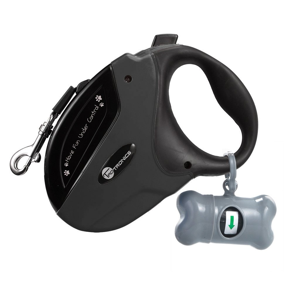 TaoTronics Retractable Dog Leash Black, 16 ft Dog Walking Leash for Medium Large Dogs up to 111lbs, Tangle Free, One Button Break & Lock, Dog Waste Dispenser and Bags Included
