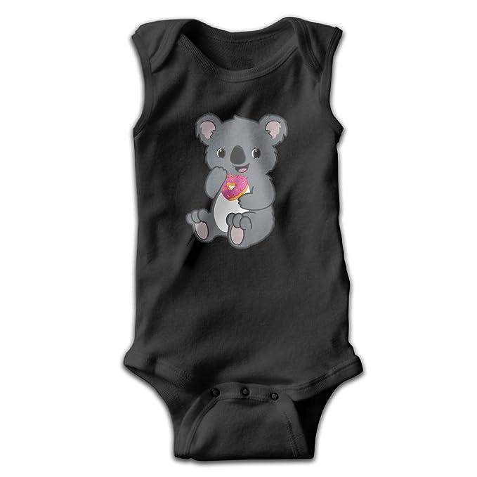 Bebé Niños kawaii Koala comiendo corazón Donut sin mangas Mono trajes negro - negro -