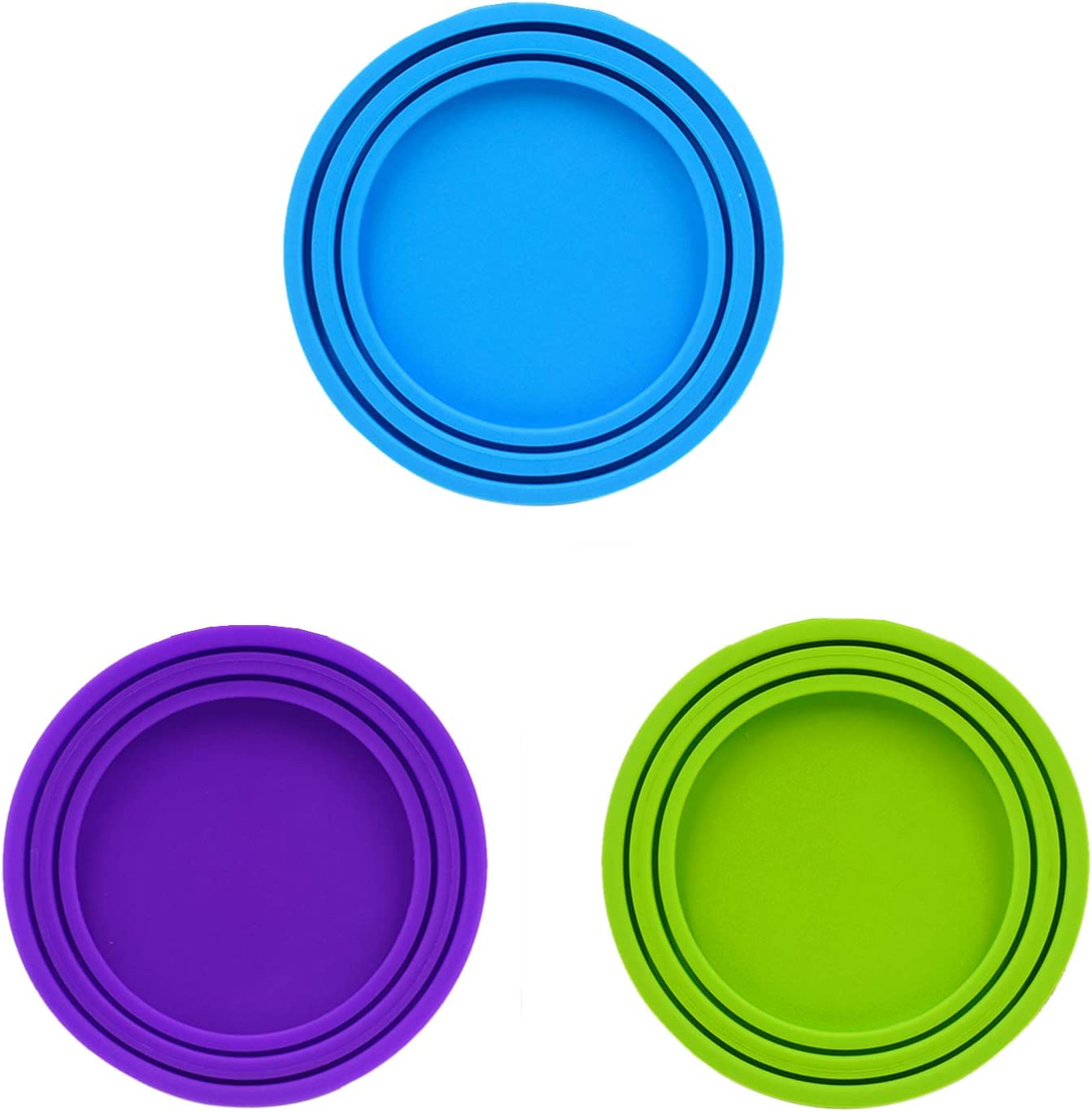 Alovexiong 3 Pack Silicone Pet Can Lids Food Can Cover Pet Can Covers Pet Can Tops Fit 3 Standard Sizes Replacement for Pet Cat/Dog Food Storage Cover (Random Color)