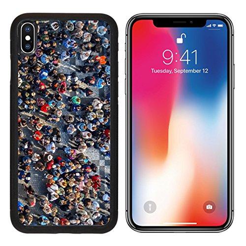 MSD Premium Apple iPhone X Aluminum Backplate Bumper Snap Case IMAGE ID: 32875320 crowded square in prag under orloj - Pr Grey Square