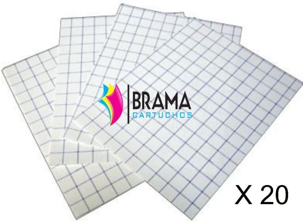 Bramacartuchos - 20X Hojas Papel Transfer para Camisetas de Algodon Blancas para Hp Canon Brother Epson: Amazon.es: Oficina y papelería