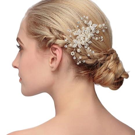 DaoRier Accesorio Tocado Pelo Novia Tiaras para el Pelo Boda Mujer Niña  Tiaras de Reinas Plata 3c8b268932f9