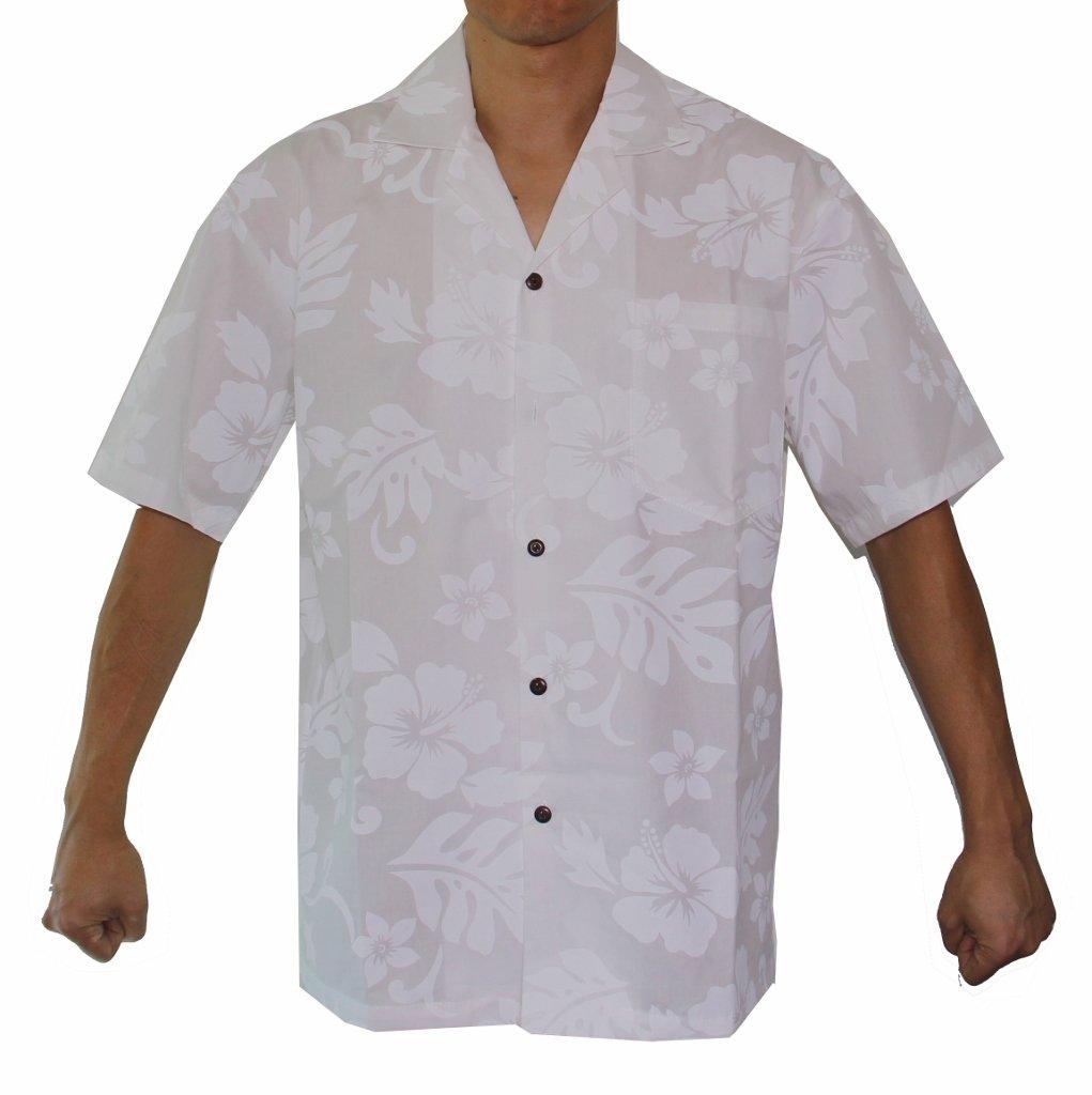 Alohawears Clothing Company Men's White Hibiscus Wedding Cruise Luau Hawaiian Shirt (M, White)