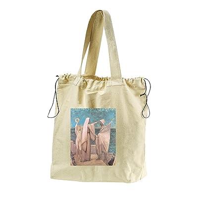 durable modeling Study Patriotism (Puvis De Chavannes) Canvas Drawstring Beach Tote Bag