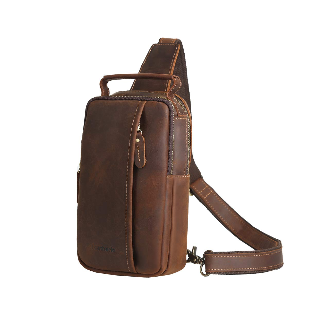 Leathario crossbody väska män äkta läder axelremsväska bröstväska vintage multifunktionell stöldsäker affärer vardaglig utomhus resor Dark Brown75
