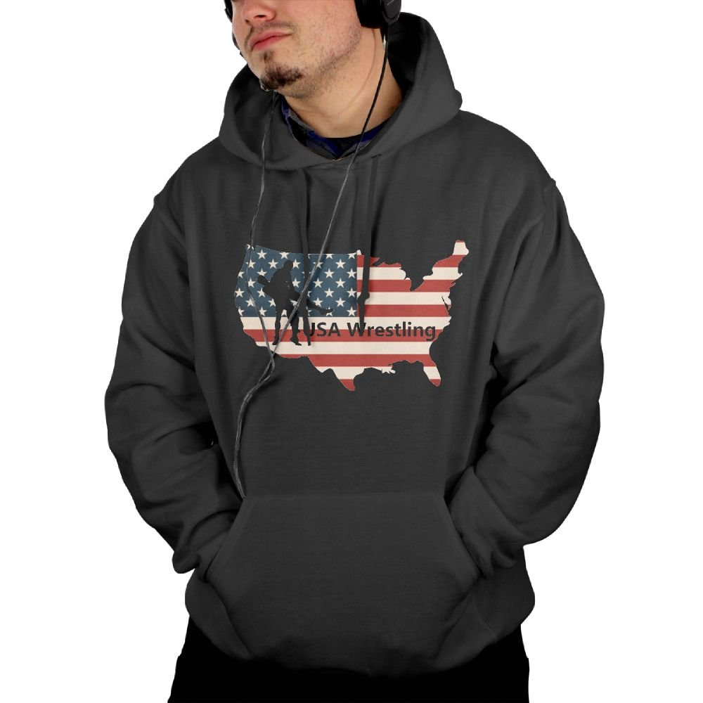 USA Wrestling Mens Daily Formal Hoodie Sweatshirt With Kangaroo Pocket by Warm Hoodies