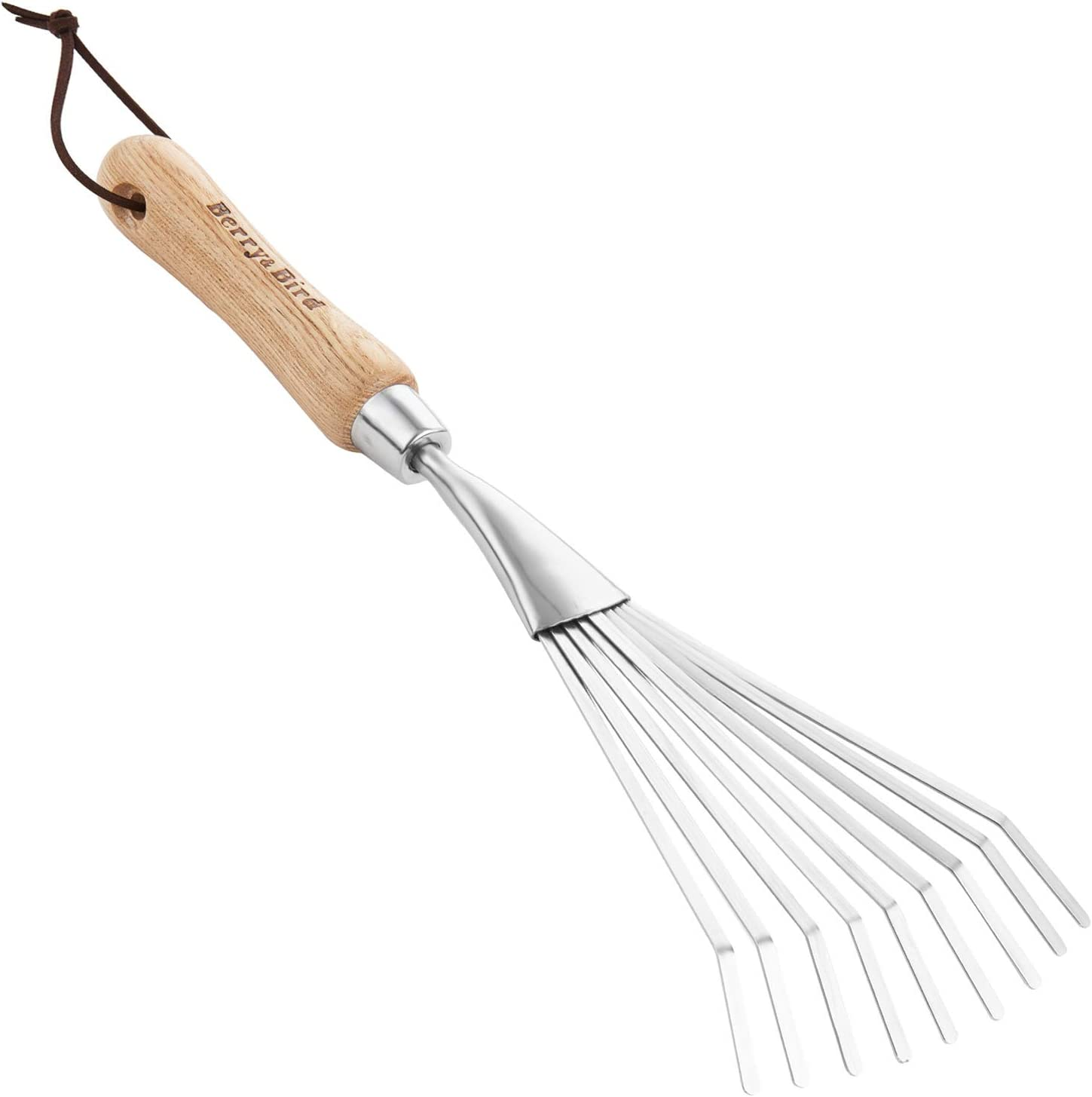 Berry&Bird Stainless Steel Hand Shrub Grass Rake, 9 Teeth Fan Lawn Leaf Rake with Wooden Handle, Heavy Duty Gardening Tools for Garden Patio Backyard and Small Places, Sweep, Picking