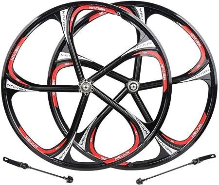 LIMQ Rueda De Bicicleta Carretera Seis Agujeros Rodamiento Disco De Disco Disco Aleación De Aluminio Magnesio Llantas De Aluminio MTB 26C,Black: Amazon.es: Hogar