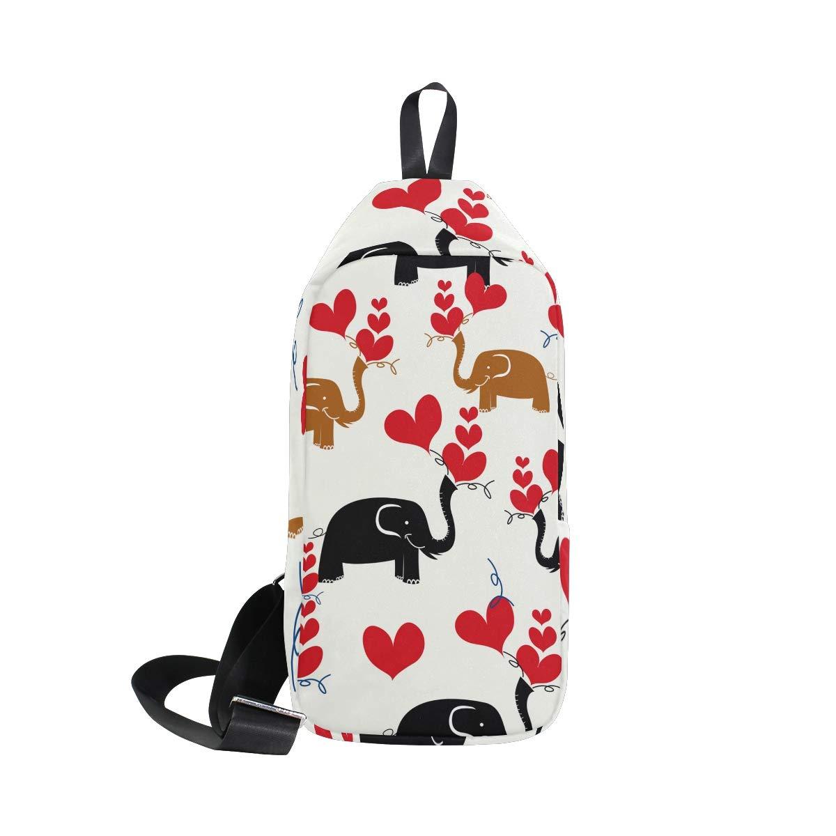 TFONE Cute Elephant Heart Pattern Crossbody Bag Lightweight Chest Shoulder Messenger Pack Backpack Sling Bag