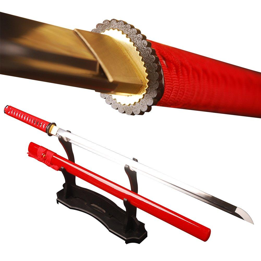 YJ COOL Real Sharp Ninja Sword Full Tang Straight Blade Carbon Steel Unokubitsukuri (red) by YJ COOL