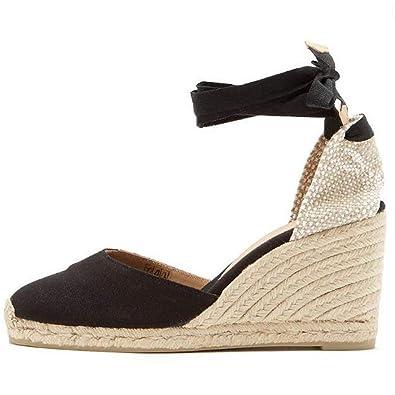64bfe85b4928ea Minetom Womens Ladies Slingback Espadrille High Wedge Heel Peeptoe Summer  Sandals Shoes - E39 Black US
