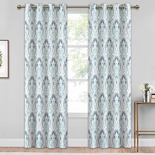 Price comparison product image KGORGE Extra Long Damask Pattern Curtains,  Grommet Window Treatments Classic Printed Panels Insulated Drapes for Window Door Screens,  Biscay Green,  52 inch Wide x 95 inch Long,  2 Panels
