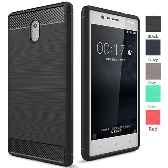 newest d23bc 8cc60 Nokia 3 Case, Dretal [Shock Resistant] Flexible Soft TPU Brushed  Anti-Fingerprint Full-Body Protective Case Cover for Nokia 3 (5