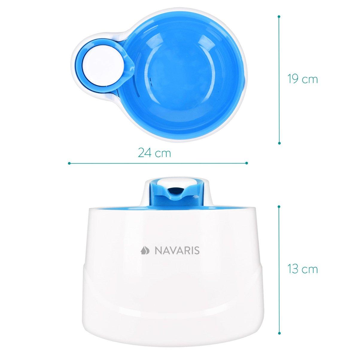 Navaris Fuente de Agua para Gatos y Perros - Bebedero de 2 litros con Filtro y Bomba Sumergible - Dispensador de Agua con Flujo Ajustable Color Azul: ...