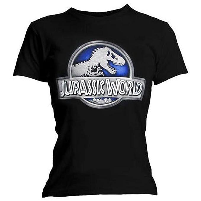 Jurassic World (Jurassic Park) - Metálico Logo - Camiseta Oficial Mujer - Negro,