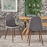 GDF Studio | Resta | Mid Century Modern Fabric Dining Chair | Set of 2 | in Light Grey/Dark Brown