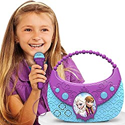 Disneys Frozen Elsa and Anna Sing Along Boombox with Included Microphone: Connects to Any Mp3 Player