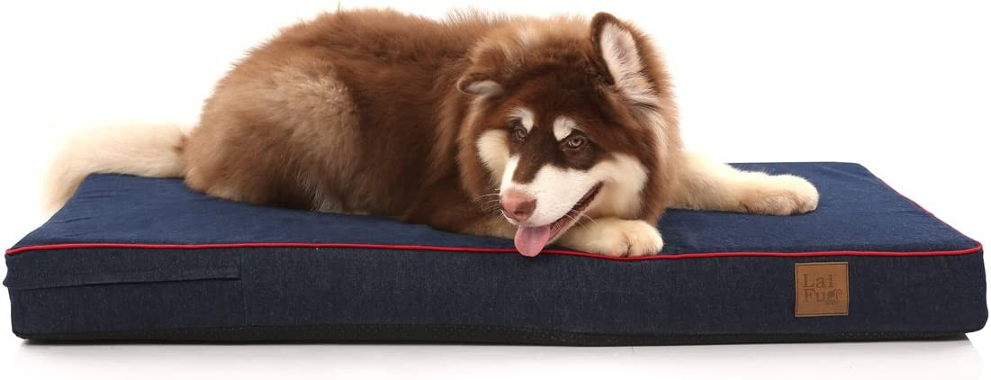 Laifug Orthopedic Memory Foam Dog Bed with Durable Water Proof Liner and Removable Washable Cover