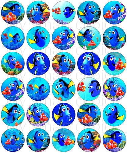 30 x Edible Cupcake Toppers – Finding Dory Themed Collection of Edible Cake Decorations | Uncut Edible Prints on Wafer Sheet