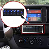 Switchtec 2 3 5 7 Gang Rocker Switch Aluminum Panel with 4.8 Amps Dual USB Rocker Style Fast Charger with Voltmeter, Blue Backlit Led, Pre-Wired for Marine, Boat, Car, Truck