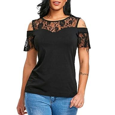 28c8d1abe71f MORCHAN Femmes Mode Casual Manches Courtes O-Cou Fleur Dentelle Blouse Tops  T-Shirt
