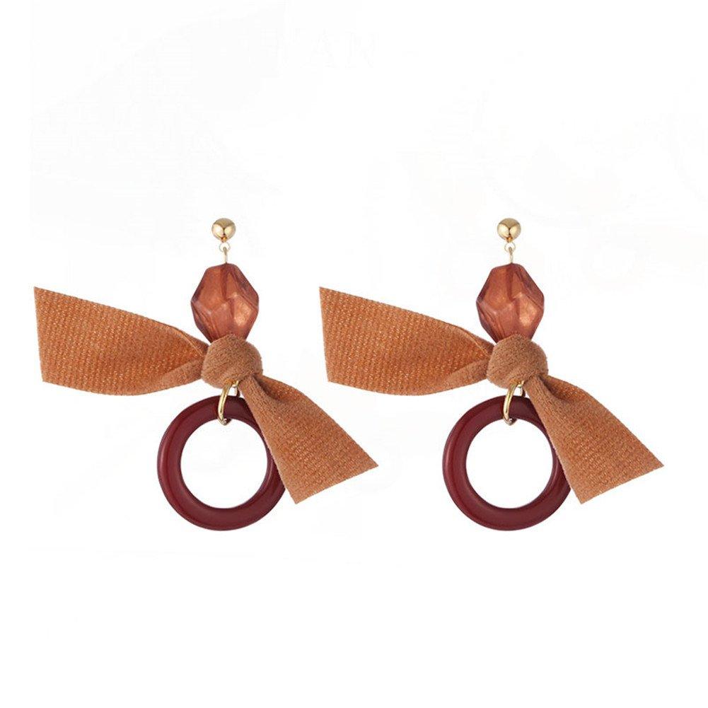 Cdet Boucles d'oreilles tendance pendantes Simple Boucles d'oreilles fille élégante (Kaki Bow + Anneau)