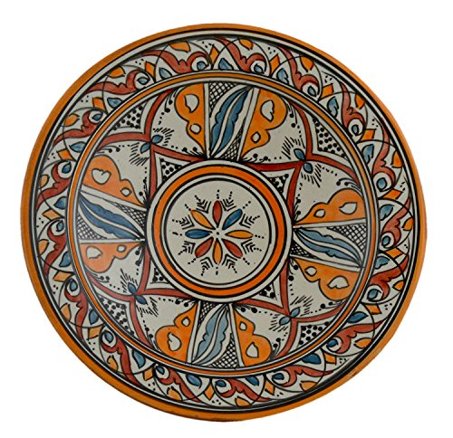 Ceramic Plates Moroccan Handmade Serving Wall Hanging Exquisite Colors Decorative 14 inches Diameter ()