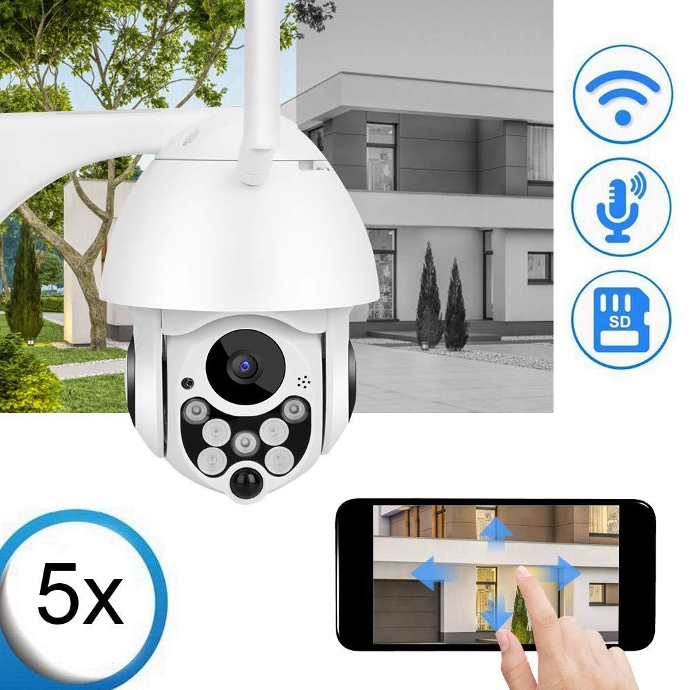 Rilevazione movimento EU Visione notturna IR Cut per casa//ufficio//negozio Zoom ottico 5X Telecamera di sicurezza PTZ 1080P Telecamera IP da esterno 2MP HD con audio bidirezionale