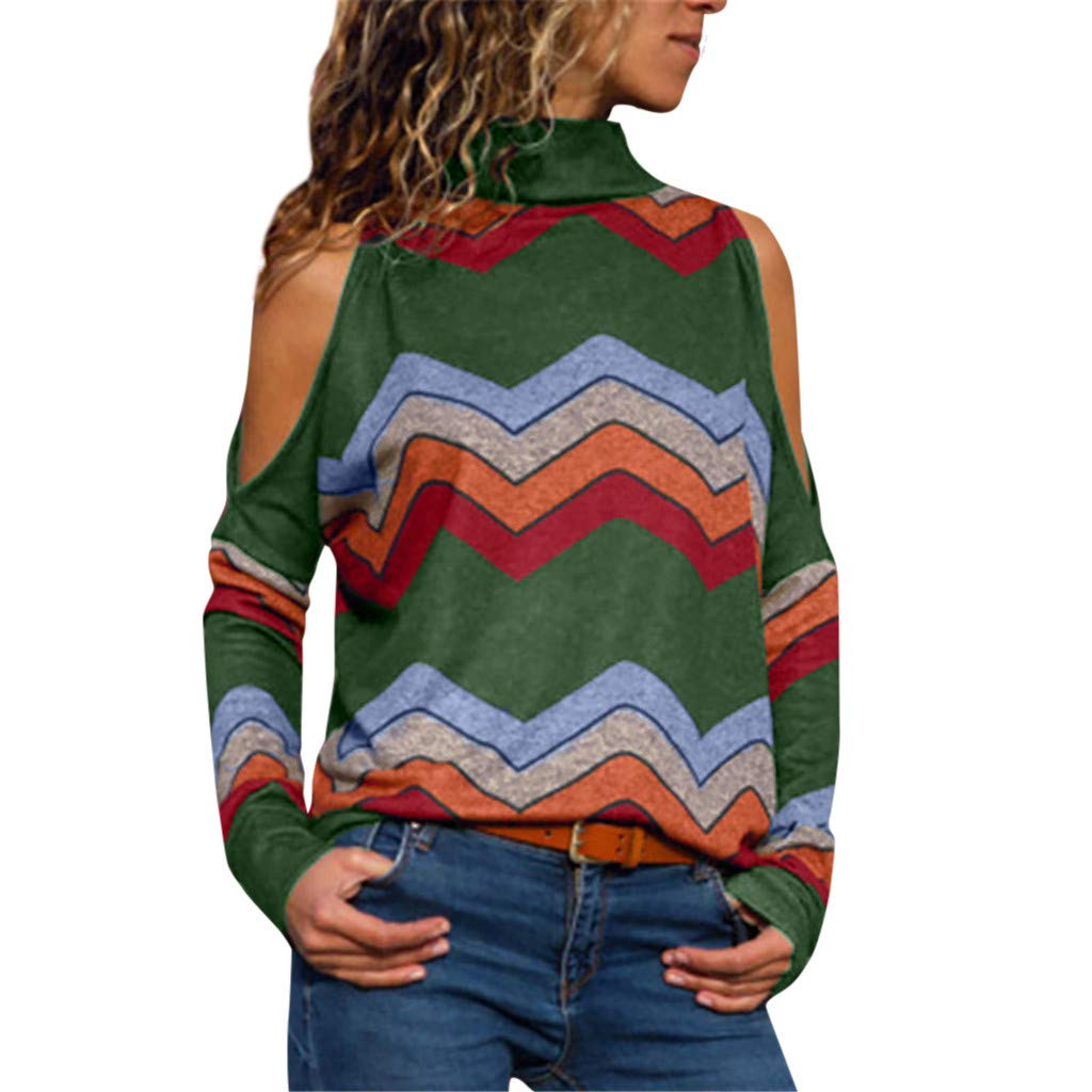 iYBUIA Women Casual Long Sleevel Stripes Printing Tank Top T Shirt Blouse Army Green