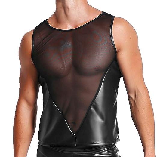 7e8c4679 YiZYiF Men's Faux Leather Sleeveless Mesh Splice Muscle Tight Vest Tank Top  Undershirt Black Medium