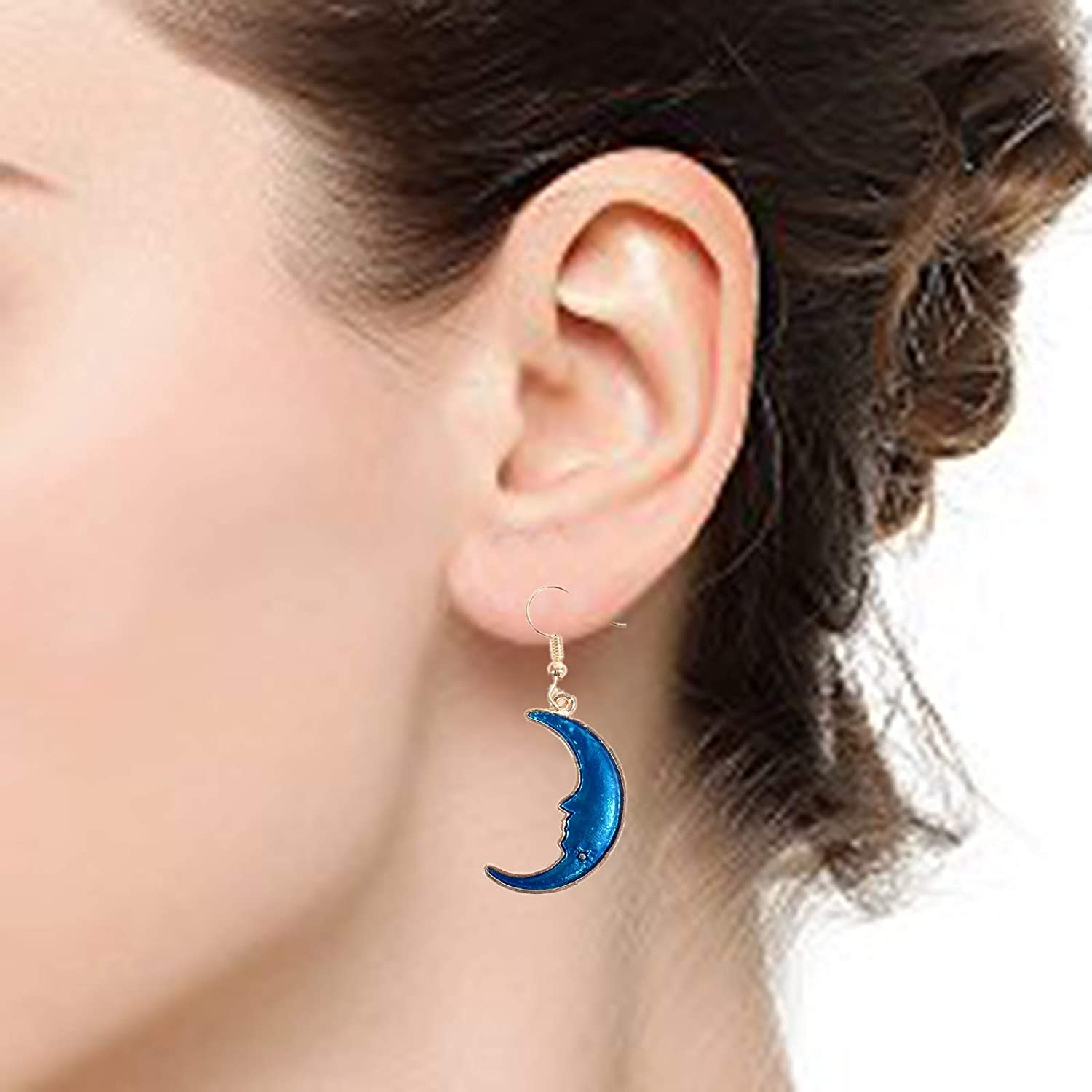 Babasee Blue Stars and Moon Drop Dangle Stud Earrings for Woman Girls Jewelry